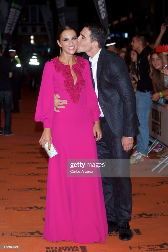 Spanish actors <a gi-track='captionPersonalityLinkClicked' href=/galleries/search?phrase=Paula+Echevarria&family=editorial&specificpeople=4152727 ng-click='$event.stopPropagation()'>Paula Echevarria</a> and Miguel Angel Silvestre attend the 'Galerias Velvet' new season red carpet during the day three of 5th FesTVal Television Festival 2013 at the Principal Theater on September 4, 2013 in Vitoria-Gasteiz, Spain.