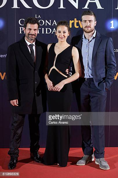 Spanish actors Rodolfo Sancho Irene Escolar and Raul Merida attend 'La Corona Partida' premiere at the Capitol cinema on February 17 2016 in Madrid...