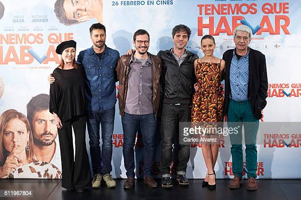 Spanish actors Veronica Forque Hugo Silva director David Serrano Ernesto Sevilla Michelle Jenner and Oscar Ladoire attend the 'Tenemos Que Hablar'...