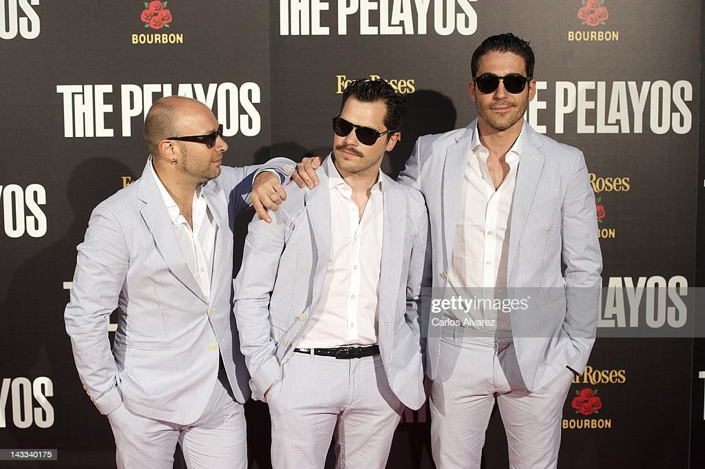 Spanish actors (L to R) Vicente Romero, Oriol Vila and <a gi-track='captionPersonalityLinkClicked' href=/galleries/search?phrase=Miguel+Angel+Silvestre&family=editorial&specificpeople=4001600 ng-click='$event.stopPropagation()'>Miguel Angel Silvestre</a> attend 'The Pelayos' premiere at Fortuny Club on April 24, 2012 in Madrid, Spain.