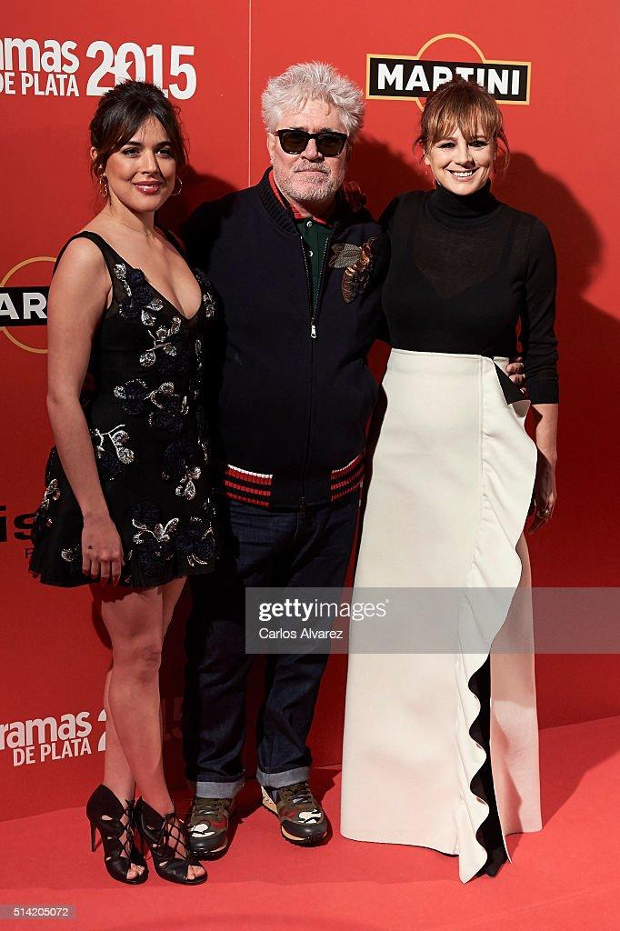 Spanish actress Adriana Ugarte Spanish director Pedro Almodovar and Spanish actress Emma Suarez attends the Fotogramas Awards 2015 at the Joy Eslava...