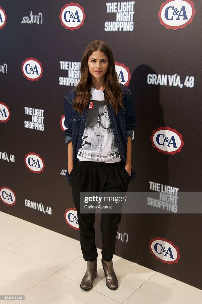 Spanish actress Alba Galocha inaugurates the new C&A Shop on October 3, 2013 in Madrid, Spain.
