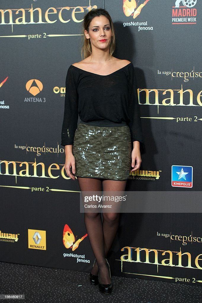 Spanish actress Alejandra Onieva attends the 'The Twilight Saga Breaking Dawn Part 2' premiere at the Kinepolis cinema on November 15 2012 in Madrid...