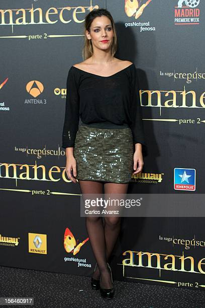 Spanish actress Alejandra Onieva attends the 'The Twilight Saga Breaking Dawn Part 2' premiere at the Kinepolis cinema on November 15 2012 in Madrid...