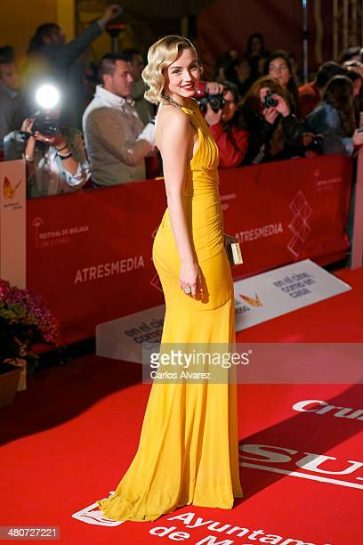 Spanish actress Ana de Armas attends the 'Por un Punado de Besos' premiere during the 17th Malaga Film Festival 2014 Day 6 at the Cervantes Theater...
