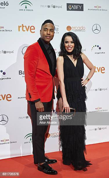 Spanish actress and singer Beatriz Luengo and her couple Yotuel attends the Jose Maria Forque Awards 2016 at Teatro de la Maestranza on January 14...