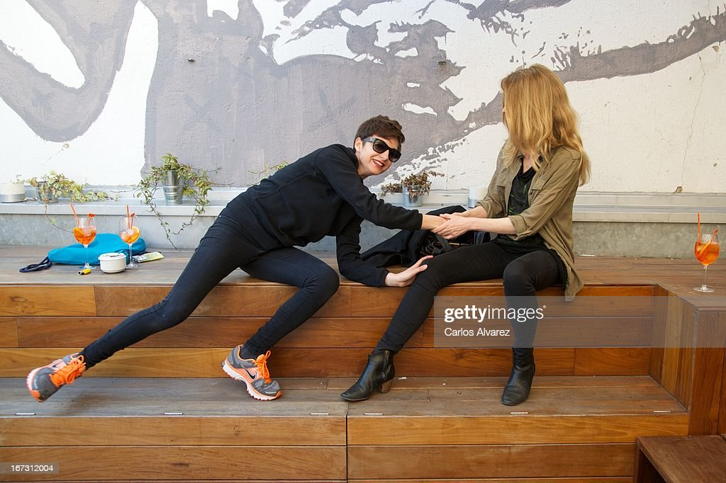 Spanish actress and singer Nawja Nimri (L) and Spanish singer <a gi-track='captionPersonalityLinkClicked' href=/galleries/search?phrase=Christina+Rosenvinge&family=editorial&specificpeople=6064189 ng-click='$event.stopPropagation()'>Christina Rosenvinge</a> (R) present 'Aperol Spritz Sound Agenda' at San Anton market on April 24, 2013 in Madrid, Spain.