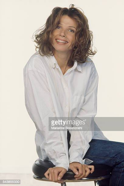 Spanish actress and singer Victoria Abril promotes the film 'Casque Bleu' by French actor director screenwriter and producer Gerard Jugnot