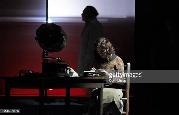 Spanish actress Angela Villar performs during the dress rehearsal of the play 'Ushuaia' by Alberto Conejero on stage at the Espanol Theatre on March...