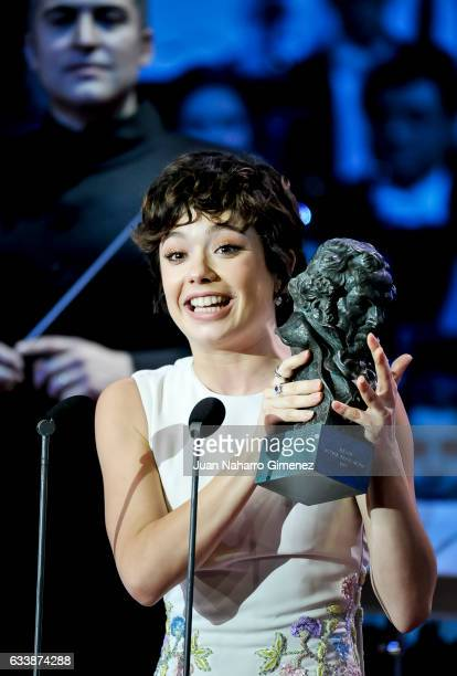 Spanish actress Anna Castillo receives the Best Promise actress Goya Award for the film El Olivo during the 31th edition of the 'Goya Cinema Awards'...