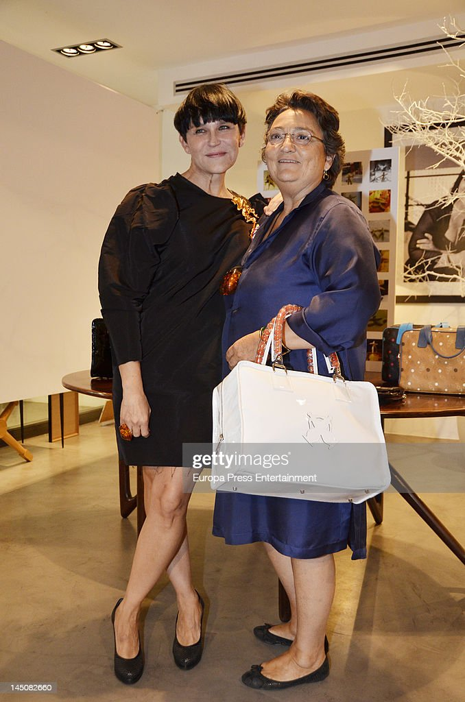 Spanish actress Antonia San Juan present her accessories and bag collection that are being sold at Elena Benarroch shop on May 22 2012 in Madrid Spain