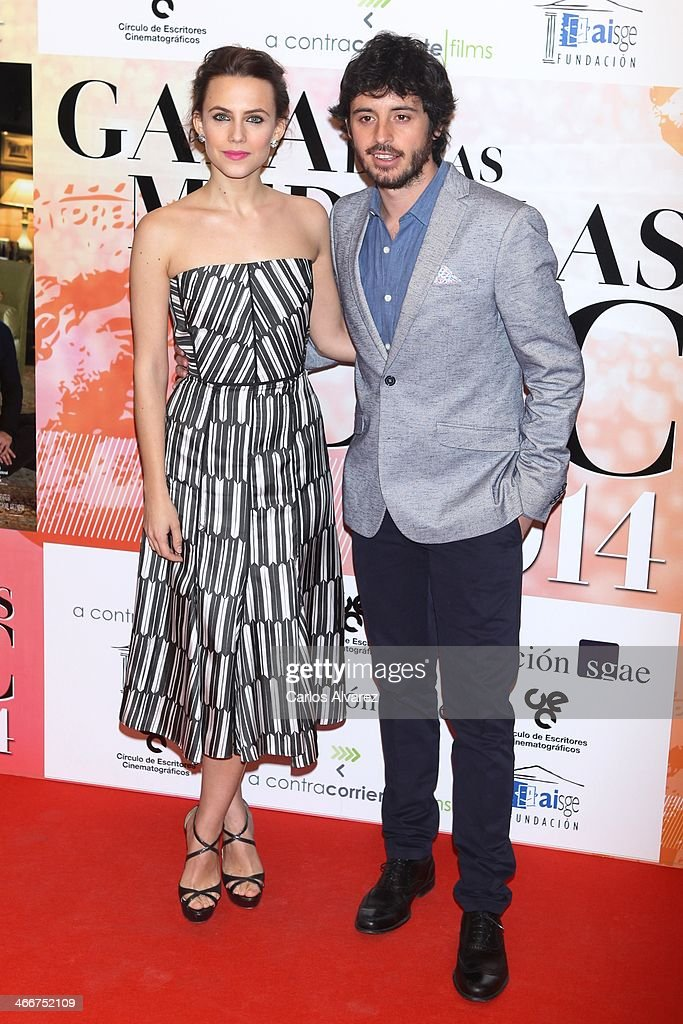 Spanish actress <a gi-track='captionPersonalityLinkClicked' href=/galleries/search?phrase=Aura+Garrido&family=editorial&specificpeople=6914215 ng-click='$event.stopPropagation()'>Aura Garrido</a> and actor Javier Pereira attend the 'CEC' medals 2014 at the Palafox cinema on February 3, 2014 in Madrid, Spain.