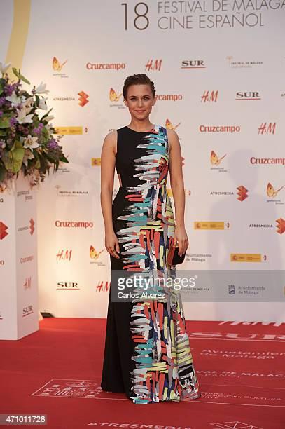 Spanish actress Aura Garrido attends 'Aprendiendo a Conducir' premiere during the 18th Malaga Spanish Film Festival at Cervantes Theater on April 24...