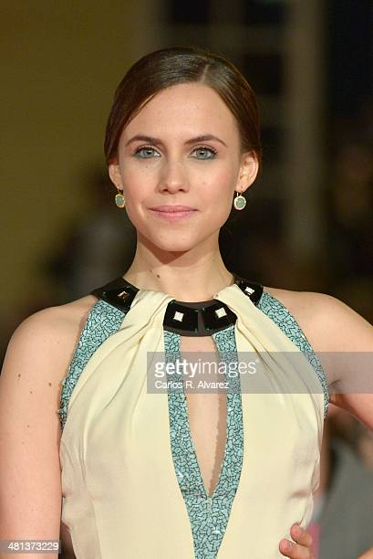 Spanish actress Aura Garrido attends the 17th Malaga Film Festival 2014 closing ceremony at the Cervantes Theater on March 29 2014 in Malaga Spain