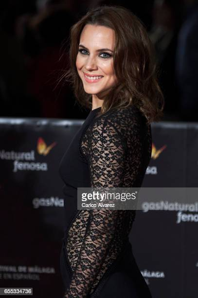 Spanish actress Aura Garrido attends the 'Amar' premiere during the 20th Malaga Film Festival 2017 Day 3 at the Cervantes Theater on March 19 2017 in...