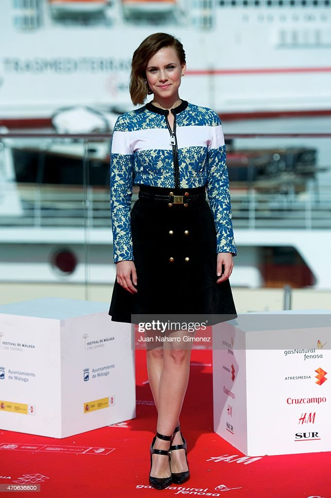 Spanish actress Aura Garrido attends the 'Asesinos Inocentes' photocall during the 18th Malaga Spanish Film Festival at Port on April 22 2015 in...