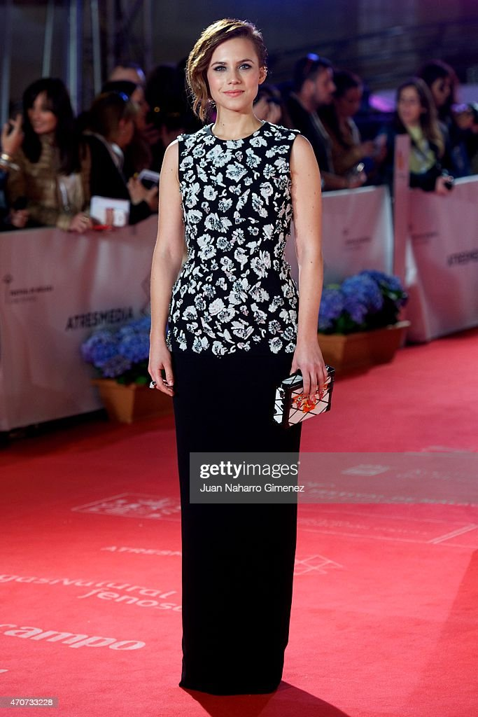 Spanish actress Aura Garrido attends the 'Sexo Facil Peliculas Tristes' premiere at the Cervantes Theater during the 18th Malaga Film Festival on...