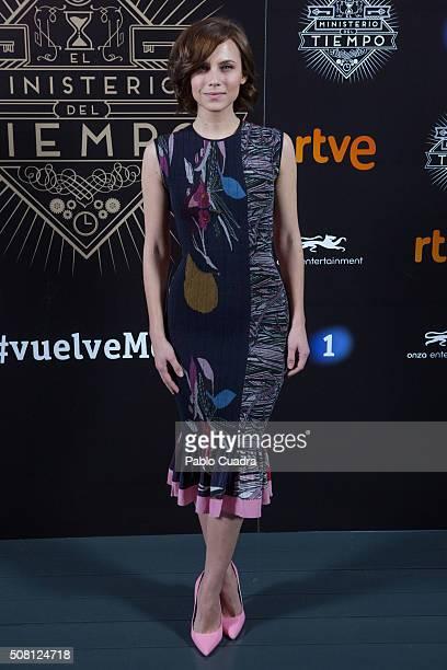 Spanish actress Aura Garrido presents the 'El Ministerio del Tiempo' season 2 at the 'Cineteca' on February 3 2016 in Madrid Spain