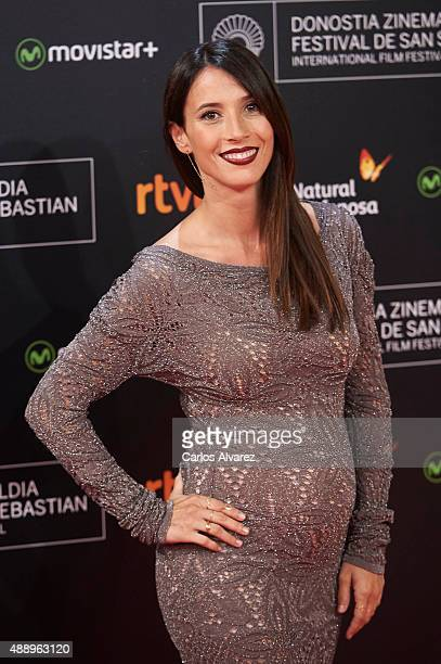 Spanish actress Barbara Goenaga attends 'Regression' premiere during the 63rd San Sebastian International Film Festival at the Kursaal Palace on...