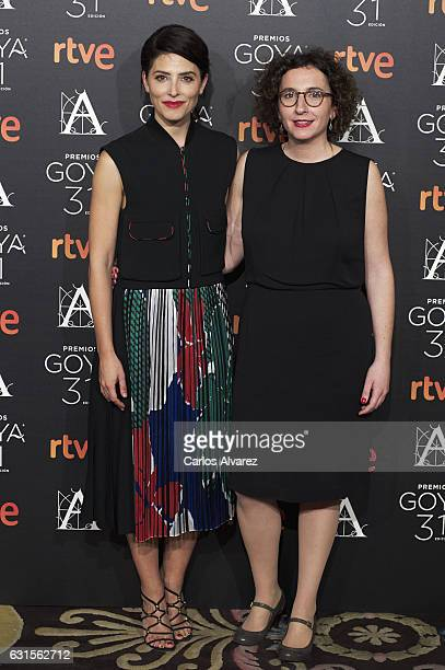 Spanish actress Barbara Lennie and director Nely Reguera attend the Goya cinema awards candidates 2016 cocktail at the Ritz Hotel on January 12 2017...