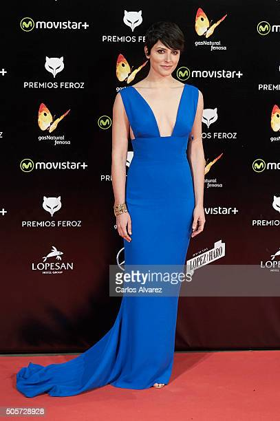 Spanish actress Barbara Lennie attends the Feroz Awards 2016 red carpet at the Gran Teatro Principe Pio on January 19 2016 in Madrid Spain