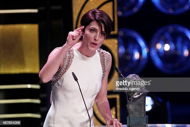 Spanish actress Barbara Lennie delivers a speech after receiving the Goya award for best actress in a leading role for the film 'Magical Girl' during...
