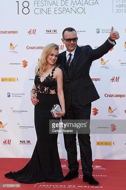 Spanish actress Carla Nieto and boyfriend Risto Mejide attend 'La Deuda' premiere at the Cervantes Theater during the 18th Malaga Film Festival on...