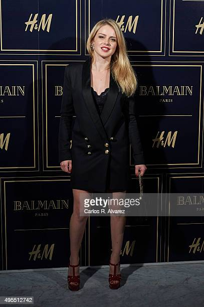 Spanish actress Carla Nieto attends the Balmain and HM Collection launch party at the Neptuno Palace on November 3 2015 in Madrid Spain