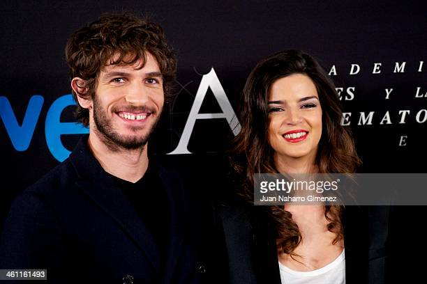 Spanish actress Clara Lago and Quim Gutierrez attend the Goya Film Awards 2014 Candidates press conference on January 7 2014 in Madrid Spain