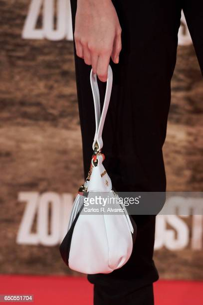 Spanish actress Cristina Abad bag detail attends 'Zona Hostil' premiere at the Kinepolis cinema on March 9 2017 in Madrid Spain