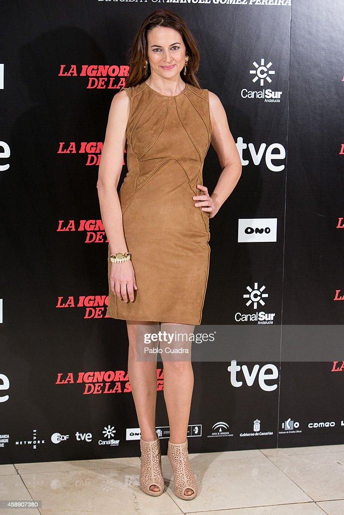 Spanish actress Cuca Escribano poses during a photocall to present 'La Ignoracia de la Sangre' film at Princesa cinema on November 13 2014 in Madrid...