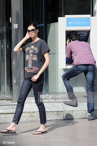 Spanish actress Dafne Fernandez and model Javier de Miguel are seen on April 28 2013 in Malaga Spain