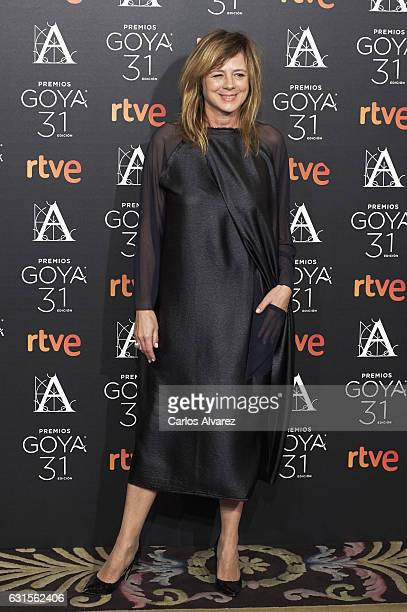 Spanish actress Emma Suarez attends the Goya cinema awards candidates 2016 cocktail at the Ritz Hotel on January 12 2017 in Madrid Spain