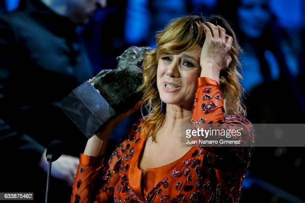 Spanish actress Emma Suarez receives the Best Actress Goya Award for the film Julieta during the 31th edition of the 'Goya Cinema Awards' ceremony at...