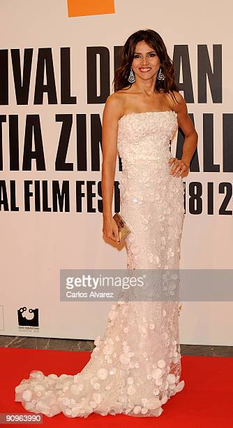 Spanish actress Goya Toledo attends the 'Chloe' premiere at Kursaal Palace during the 57th San Sebastian International Film Festival on September 18...