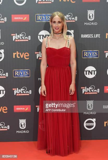 Spanish actress Ingrid Garcia Jonsson poses on the red carpet during the 4th edition of the 'Premios Platino' for IberoAmerican Cinema awards...