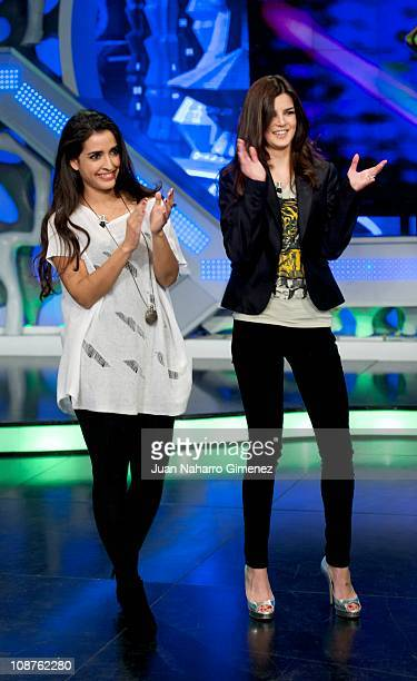 Spanish actress Inma Cuesta and Clara Lago attend 'El Hormiguero' Tv Show at Vertice Studios on February 2 2011 in Madrid Spain