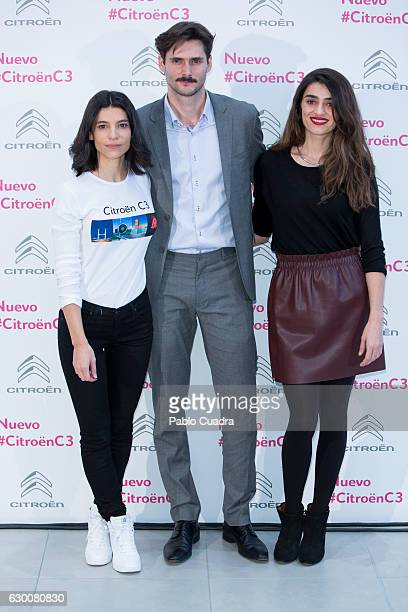 Spanish actress Irene Visedo actor Sergio Mur and actress Olivia Molina present 'Soundrise by Citroen C3' at Citroen store on December 16 2016 in...