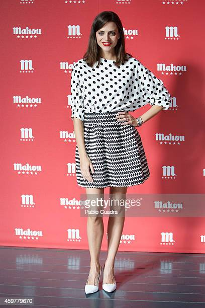 Spanish actress Macarena Gomez poses during a photocall to present 'Mahou' Christmas spot at 'El Matadero' on December 1 2014 in Madrid Spain