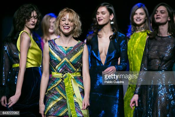 Spanish actress Maggie Civantos walks the runway at the Esther Noriega show during the MercedesBenz Madrid Fashion Week Autumn/Winter 2017 at Ifema...
