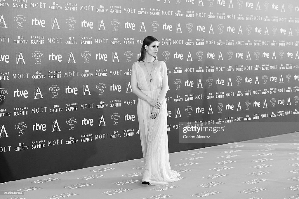 Spanish actress <a gi-track='captionPersonalityLinkClicked' href=/galleries/search?phrase=Manuela+Velles&family=editorial&specificpeople=4467730 ng-click='$event.stopPropagation()'>Manuela Velles</a> attends Goya Cinema Awards 2016 at Madrid Marriott Auditorium on February 6, 2016 in Madrid, Spain.