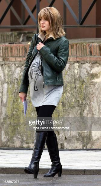 Spanish actress Maria Valverde is seen on the set filming 'Hermanos' on March 12 2013 in Guadalajara Spain