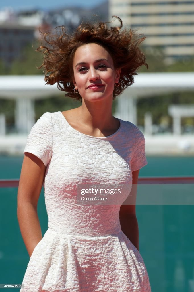 Spanish actress <a gi-track='captionPersonalityLinkClicked' href=/galleries/search?phrase=Megan+Montaner&family=editorial&specificpeople=7622380 ng-click='$event.stopPropagation()'>Megan Montaner</a> attends the 'Por un Punado de Besos' photocall during the 17th Malaga Film Festival 2014 - Day 6 on March 26, 2014 in Malaga, Spain.