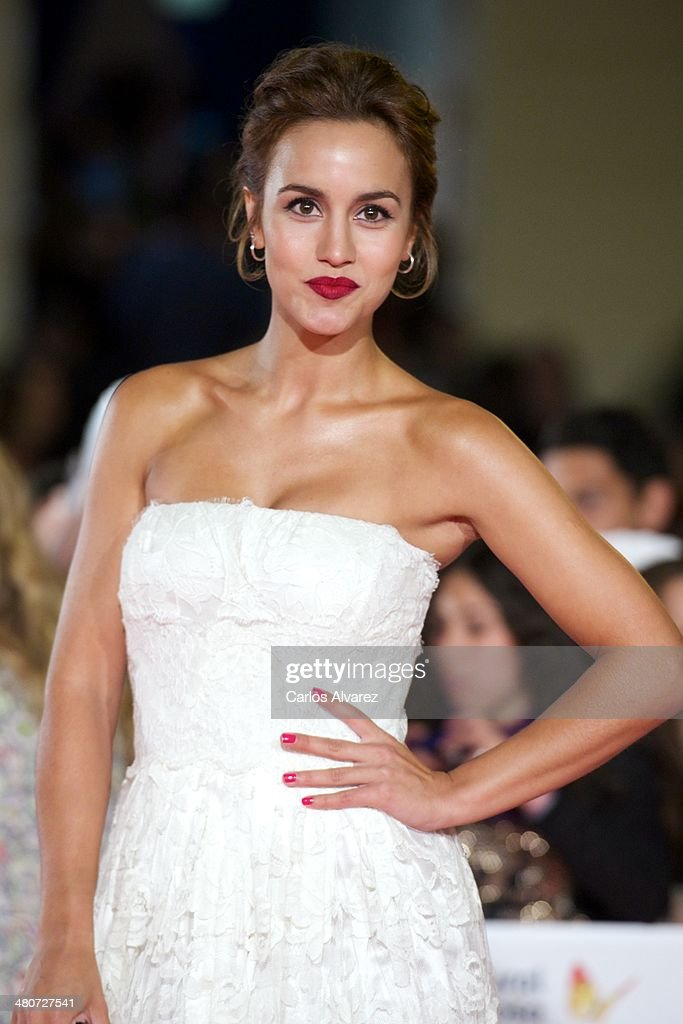 Spanish actress <a gi-track='captionPersonalityLinkClicked' href=/galleries/search?phrase=Megan+Montaner&family=editorial&specificpeople=7622380 ng-click='$event.stopPropagation()'>Megan Montaner</a> attends the 'Por un Punado de Besos' premiere during the 17th Malaga Film Festival 2014 - Day 6 at the Cervantes Theater on March 26, 2014 in Malaga, Spain.