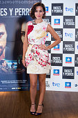 Spanish actress Megan Montaner poses during a photocall to present 'Dioses Y Perros' film at Kinepolis cinema on October 6 2014 in Madrid Spain