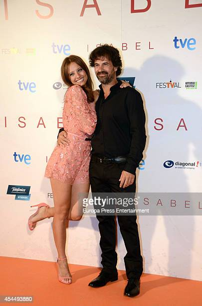 Spanish actress Michelle Jenner and Spanish actor Rodolfo Sancho attend 'Isabel' 3rd season premiere during the FesTVal 2014 on September 1 2014 in...
