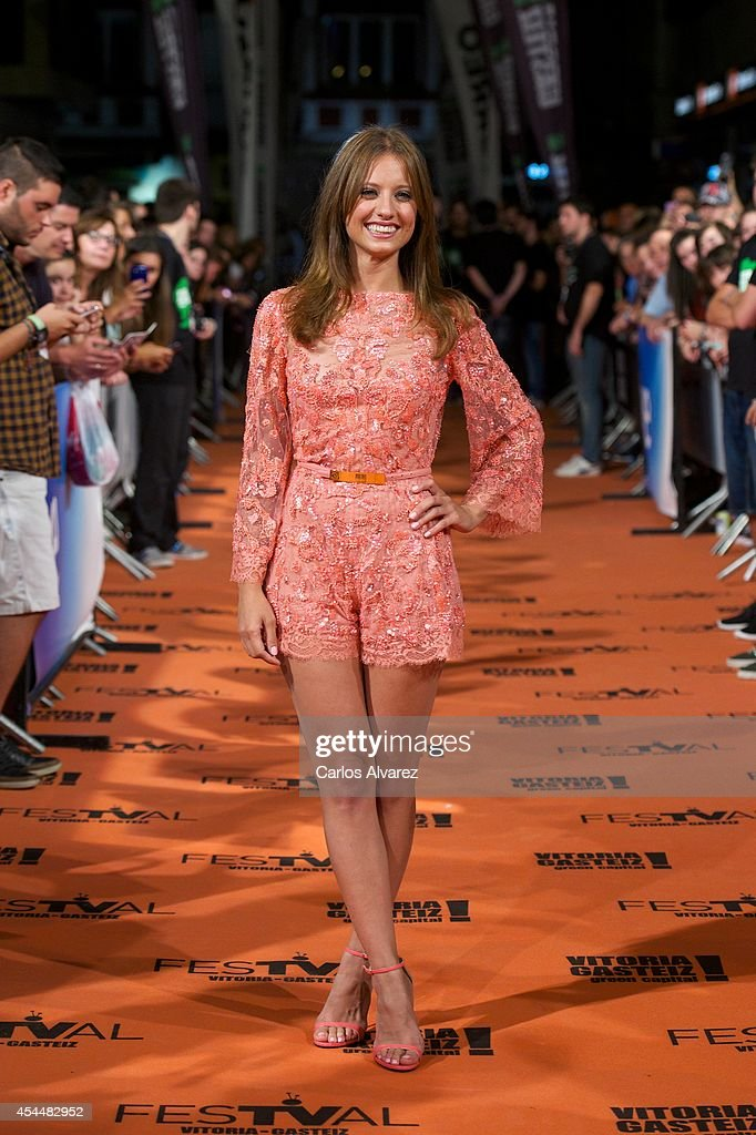 Spanish actress <a gi-track='captionPersonalityLinkClicked' href=/galleries/search?phrase=Michelle+Jenner&family=editorial&specificpeople=4388105 ng-click='$event.stopPropagation()'>Michelle Jenner</a> attends 'Isabel' 3th season premiere at the Principal Theater during the FesTVal 2014 day 1 on September 1, 2014 in Vitoria-Gasteiz, Spain.