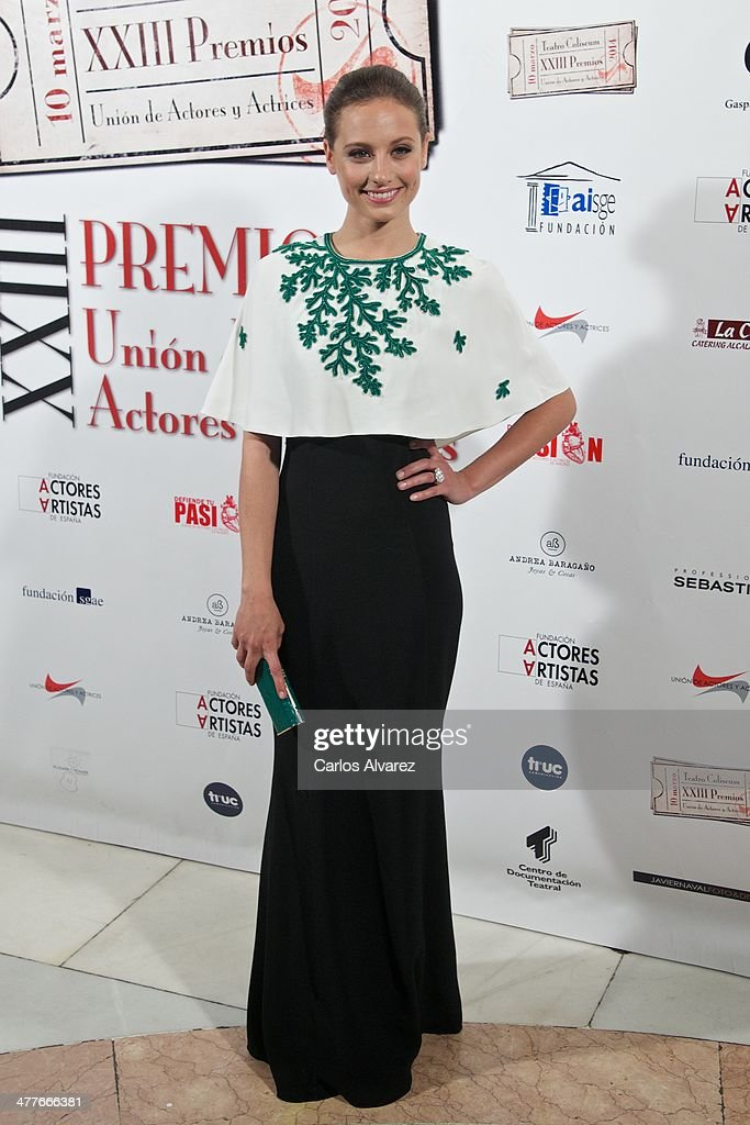 Spanish actress <a gi-track='captionPersonalityLinkClicked' href=/galleries/search?phrase=Michelle+Jenner&family=editorial&specificpeople=4388105 ng-click='$event.stopPropagation()'>Michelle Jenner</a> attends the 23th Union de Actores awards at the Coliseum Theater on March 10, 2014 in Madrid, Spain.
