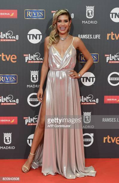 Spanish actress Michelle Salas poses on the red carpet during the 4th edition of the 'Premios Platino' for IberoAmerican Cinema awards ceremony in...