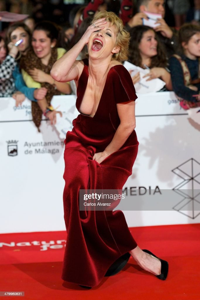 Spanish actress <a gi-track='captionPersonalityLinkClicked' href=/galleries/search?phrase=Najwa+Nimri&family=editorial&specificpeople=578073 ng-click='$event.stopPropagation()'>Najwa Nimri</a> attends the 17th Malaga Film Festival 2014 opening ceremony at tne Cervantes Theater on March 21, 2014 in Malaga, Spain.